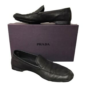 Prada Mens Smart Black Casual Moccasin Pebble Driving Shoes UK9