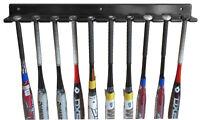 10-Bat Baseball Bat Display Rack Wall Hanger, Solid wood, B110-BLA