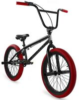 "Elite 20"" BMX Stealth Bicycle Freestyle Bike 1 Piece Crank Black Red NEW"