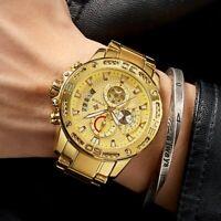 XL Herrenuhr Armband uhr Chroghraph Edelstahl Datum Gold Farben Männer Uhr Quarz