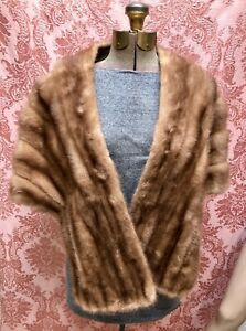 VTG 1960s HONEY BLONDE FAWN MINK FUR STOLE Clutch WRAP for THEATER-RE-PURPOSE NR