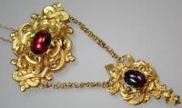Antique Victorian Baroque 18K Gold Garnet Scrolling Floral Memento Mori Necklace