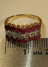 10k Gold, Natural Ruby & Diamond Ring (2.3g) Signed PDN. Size 5.25. (A00302020)