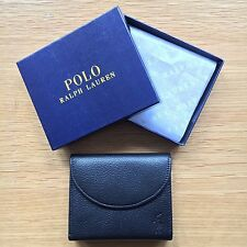 Ralph Lauren Polo Men's Black Leather Snap Wallet, Bi-Fold w/ Coin Compartment