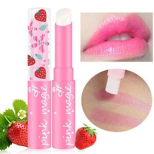 Magic Strawberry Temperature Changing-Color Lipstick-Moisturizer-Balm-Waterproof