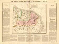 """""""Guyana francesa, holandesa et inglés' . Guiane Suriname. Buchon 1825 Mapa"""