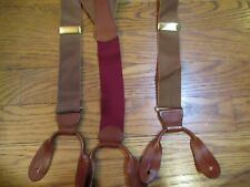 GREAT COACH GOLD CROSS GRAIN? TAN LEATHER BUTTON Y-BACK SUSPENDERS