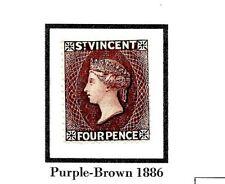 More details for st vincent 4d purple-brown 1886 sg51 mint