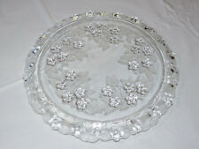 "Mikasa Crystal Floral Carmen Pattern Cake Plate platter 13"" clear & frosted  ~"