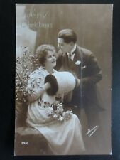 Greeting: A Happy Christmas, Romance & Muff, Old Postcard (1)