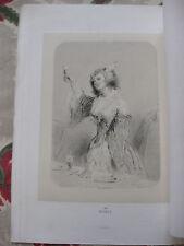 GAVARNI Londres gravure sur acier originale Portrait femme verre de vin Le Rubis