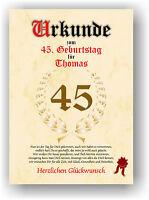 Urkunde zum 45. Geburtstag Geschenkidee Geburtstagsurkunde Namensdruck Partydeko