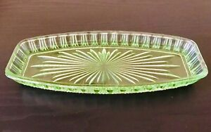Vintage Green Glass Tray Dish Art Deco Dresser Or Serving Tray.