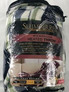 NIP Sunbeam Slumber Rest Luxury Collection Multicolor Microplush Heated Blanket