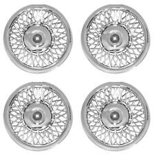 "4 Piece Set 15"" CHROME Hub Cap Full Wire Spoke Classic Wheel Cover for Steel Rim"