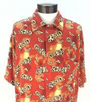 EUC $69 Guess Jeans 100% Rayon Mens Hawaiian Shirt Orange Brown Large Rare