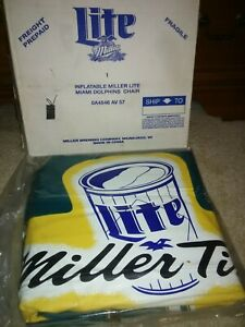 NFL MILLER LITE BEER Promo MIAMI DOLPHINS INFLATABLE CHAIR FOOTBALL Sealed