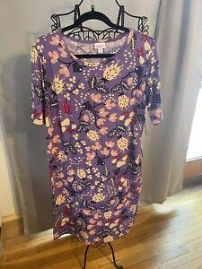LuLaRoe Julia Women's Flowers & Leaves Dress Purple, Pink, 2XL NWT