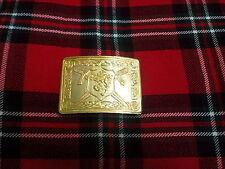 T C Hombre ASPA Escocesa León Rampante Hebilla De Cinturón Kilt chapado en oro /