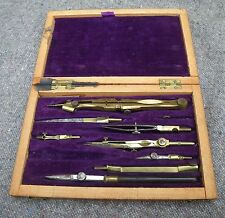 ANTIQUE WOODEN CASED BRASS TECHNICAL DRAWING INSTRUMENT SET~COMPASS~DIVIDERS ETC