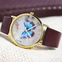 Womens Watches Butterfly Leather Strap Analog Quartz Wrist Watch Fashion Ladies