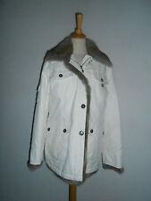 20 228/2a mujer chaqueta de invierno talla 38 Blanco Lana Crema AUTÉNTICO PIEL