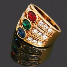 Rose Gold Plated Ruby Emerald Sapphire Crystals Women Cocktail Ring Size 10 R2