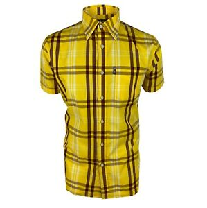 Trojan Windowpane Short Sleeved Shirt With Pocket Square TC/1003 - Mustard