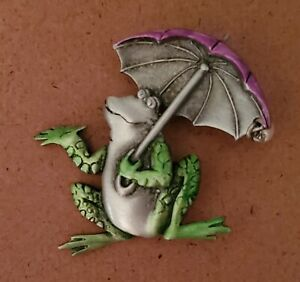 JJ Frog Pin Brooch Umbrella Pewter with Color