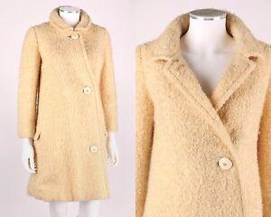 VTG 1960s LOUIS FERAUD IVORY POODLE CLOTH BOUCLE MOD COAT SZ S