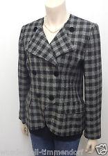 Escada Designer BLAZER chaqueta talla 40 100% lana gris negro a cuadros 941