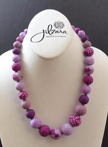 Jilzara Lilac Elastic Medium Keepsake Necklace Polymer Clay Beads Handmade GY3