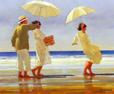 "JACK VETTRIANO BOOK  PRINT ""PICNIC PARTY"" MAN 2 WOMEN (WITH PARASOLS) AT BEACH"