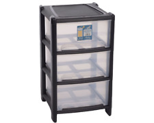 Whatmore 3 Drawer Bambu Tower Black & Clear Storage Unit Office Bedroom House