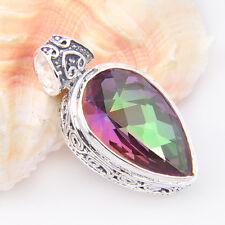 Amazing Huge Natural Rainbow Fire Mystical Topaz Gems Silver Necklace Pendant