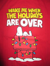 """Peanuts SNOOPY """"Wake Me When The HOLIDAYS Are Over"""" (LG) T-Shirt CHRISTMAS"""