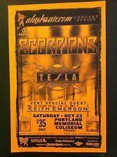 Scorpions Tesla Keith Emerson ELP Rare Portland Oregon Concert Tour Gig Poster
