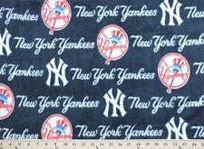 New York Yankees on Navy MLB Major League Baseball Print Fleece Fabric #s6569-bf
