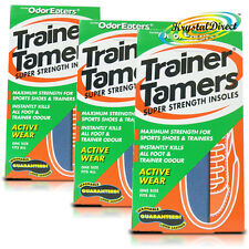 3x Odor Eaters Trainer Tamers Washable Shoe Odour Super Strength Sports Insoles