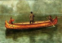 Huge Oil painting three men fishers - Fishing from a Canoe landscape canvas 36""