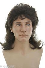 Mullet Style Medium Long Blonde Brunette Straight Wavy Costume Wigs Men's Wig