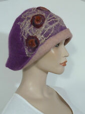 Funky advanced style asymmetric purple/ dusky pink soft boiled wool cloche hat