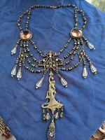 Rare Art Nouveau bib necklace Repousse cameo relief Antique Czech glass jewelry