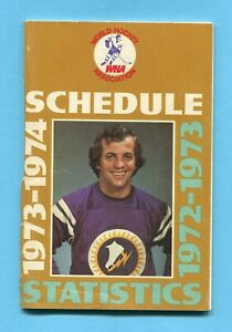 WHA 1973-74 Schedule - 1972-73 Statistics Andre Lacroix on Cover Vg/Ex spn trn