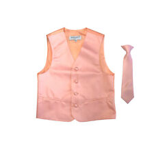 New Boy's Kid formal Tuxedo Vest Waistcoat & Necktie Peach US 2 4 6 8 10 12 14
