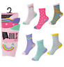 Girls 6 Pairs Rainbow Star & spots socks size 9 -12 12-3 4-6 Age 4-Teenage