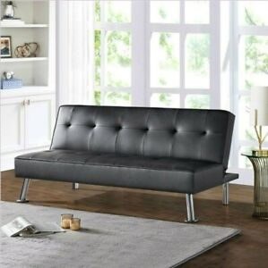 Tufted Futon Bed Modern Sofa Couch Faux Leather Sofa Bed Convertible Sleeper Bed