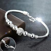 Fashion Silver Plated Bead Open Bracelet Women Charm Cuff Bangle Jewelry GiftTDO