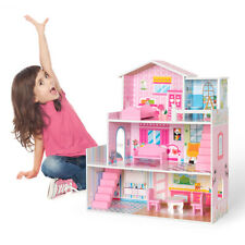 Large Kid's Girl's Wooden Pink Dollhouse Doll House Playset W/Furniture Gift