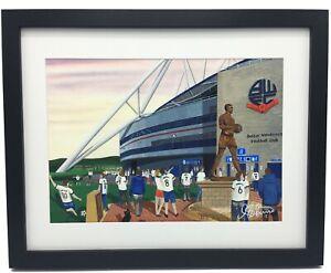 Bolton Wanderers FC University of Bolton Stadium Framed Art Print. Approx A4.